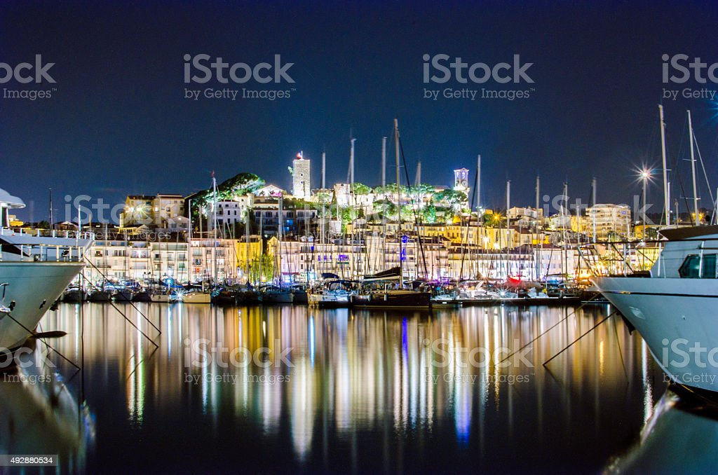 Cannes in France at night stock photo