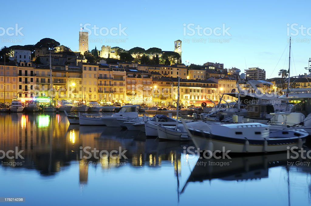 Cannes in the evening stock photo