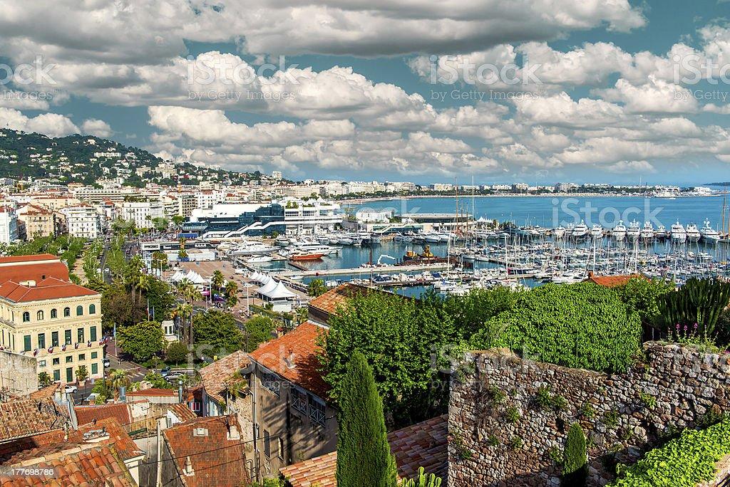 Cannes' Le Suquet and Port Le Vieux panoramic stock photo