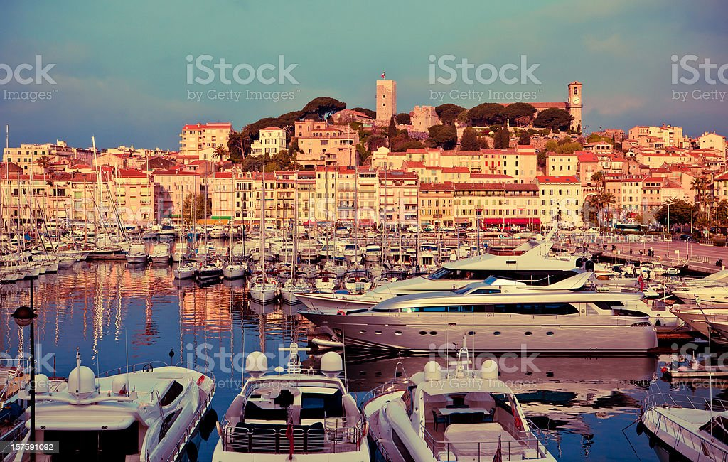 cannes port and marina stock photo