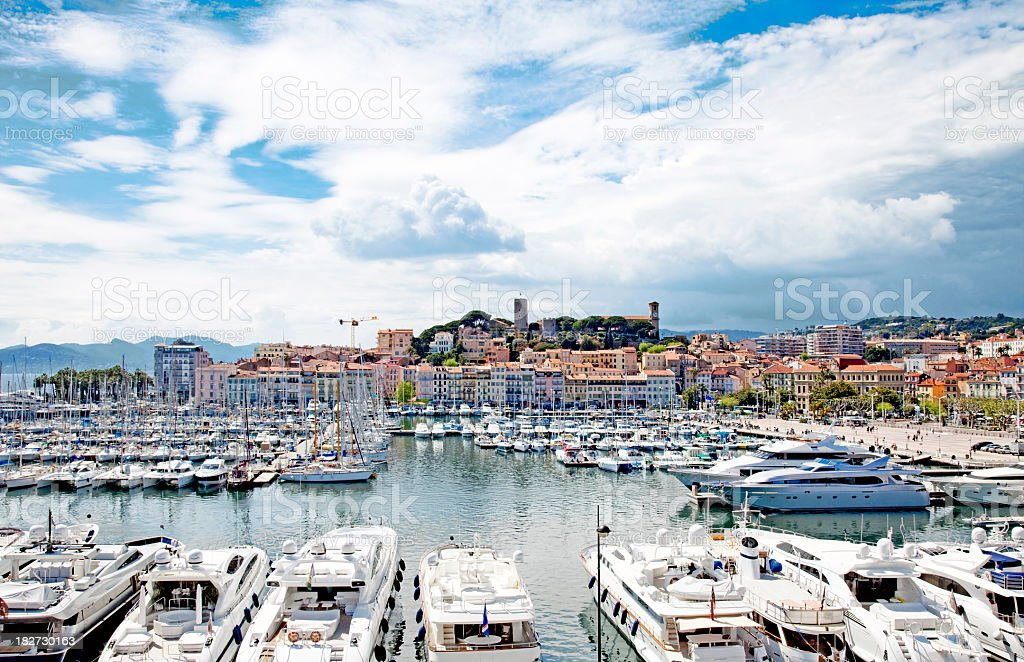 Cannes port stock photo