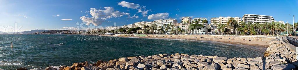 Cannes skyline and beachfront hotel panorama stock photo