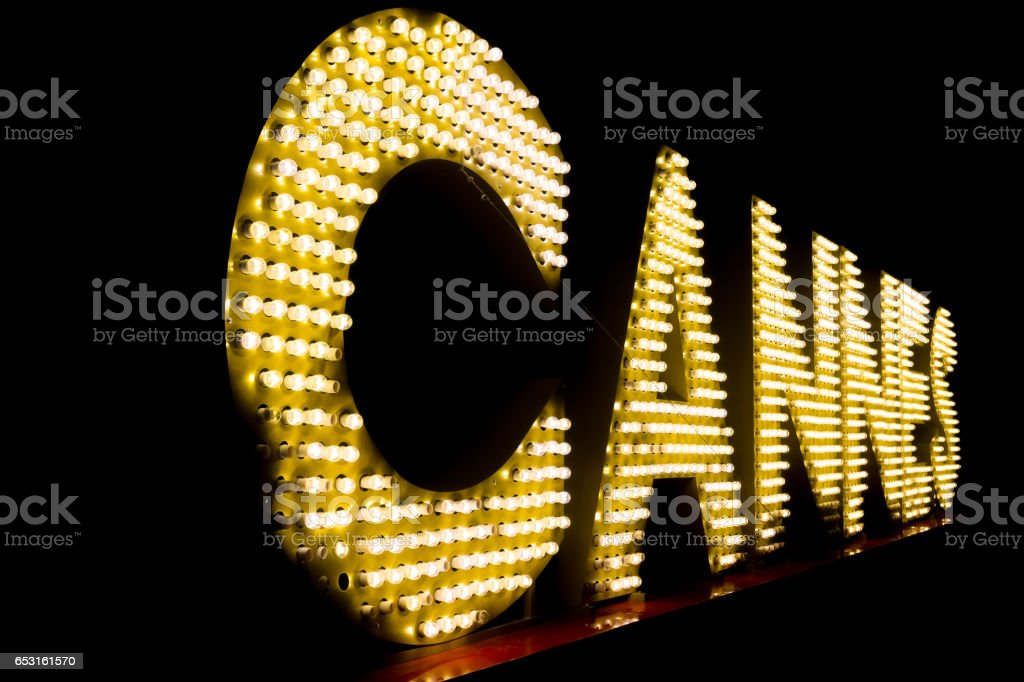 Cannes written with light bulbs stock photo