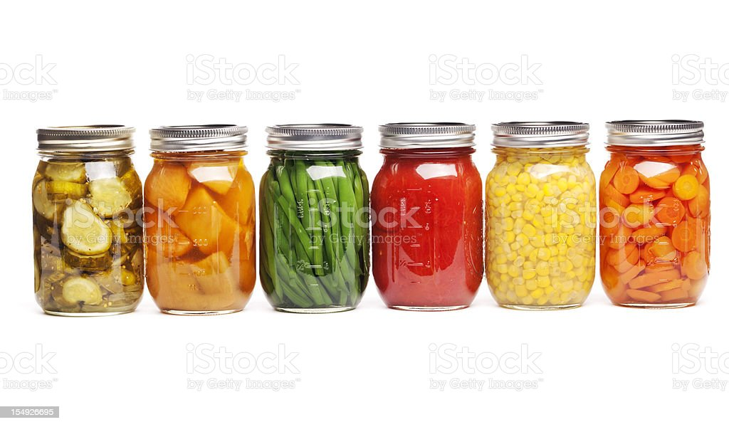 Canning Food Jars of Canned Vegetables Preserved in Glass Storage royalty-free stock photo