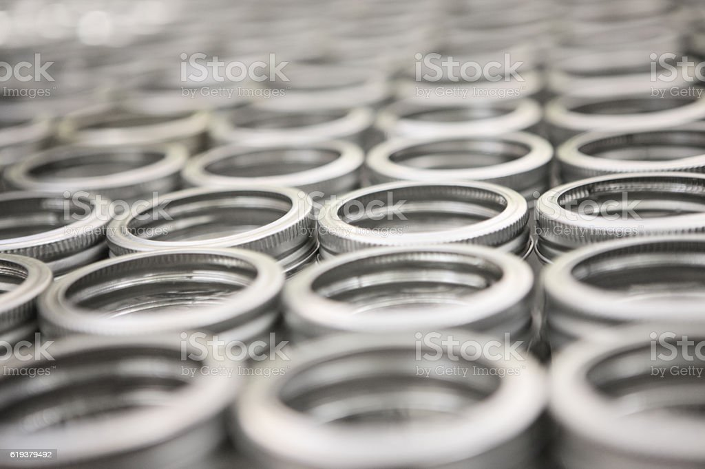 Canning Jar Lids Manufacturing Production Line stock photo