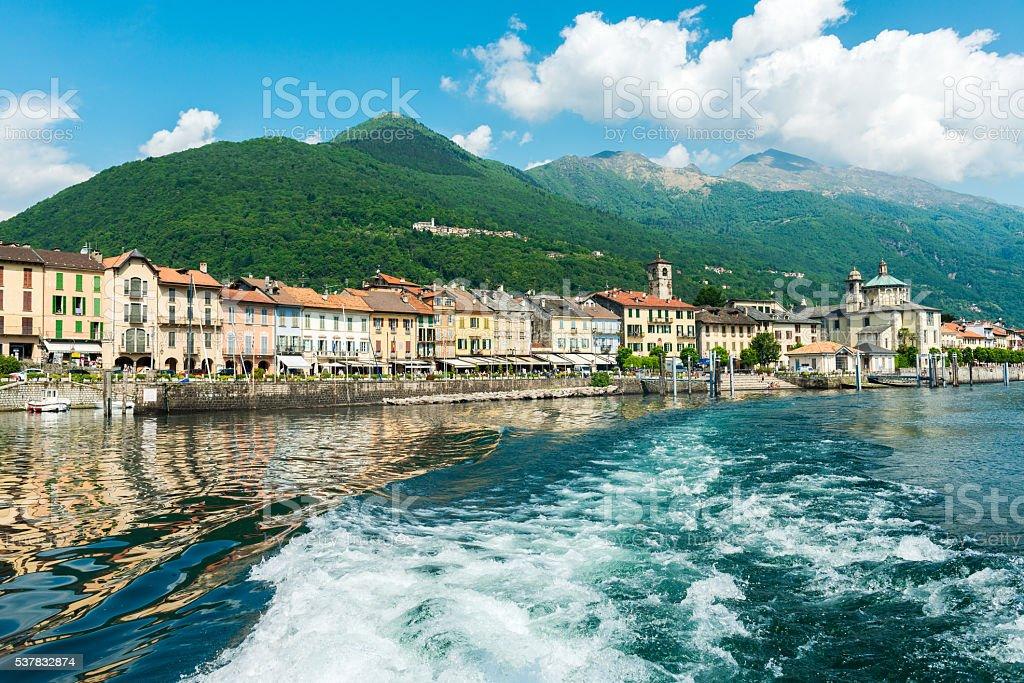 Cannobio at Lake Maggiore from lakeside stock photo