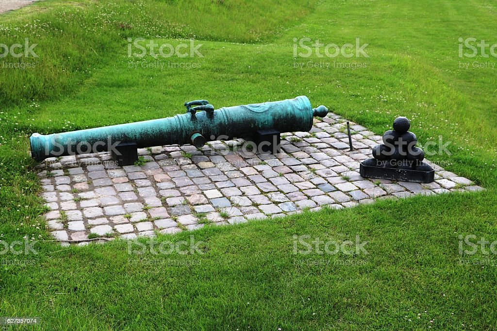Cannon and ammunition in Kastellet Copenhagen, Denmark stock photo