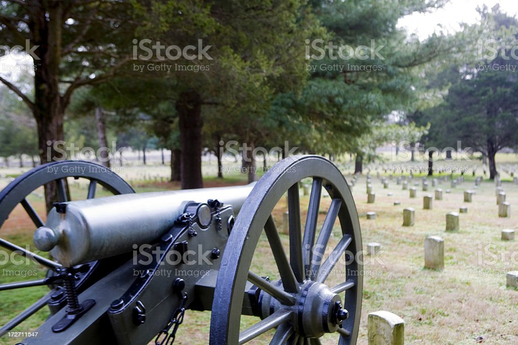 Cannon and Cemetery stock photo