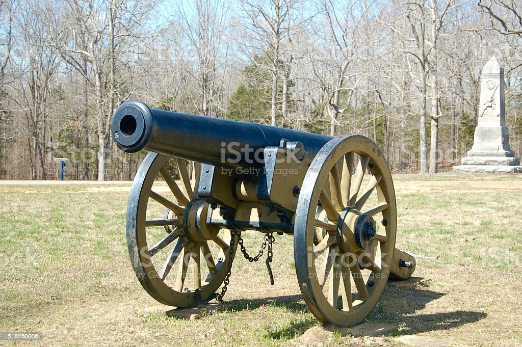 Cannon and Monument at Shiloh Battlefield stock photo
