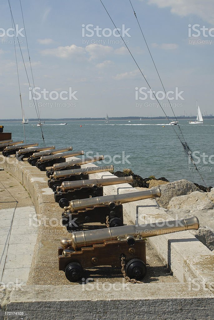 Cannon at Cowes stock photo