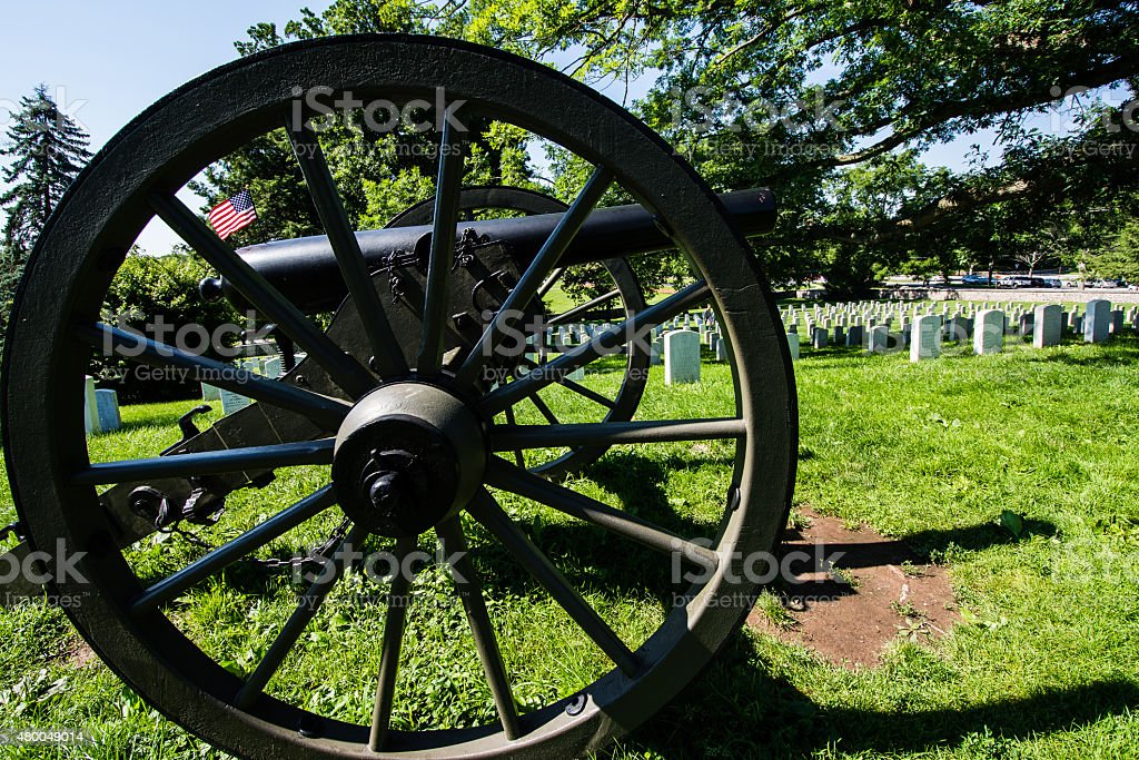 Cannon at Gettysburg Cemetery stock photo