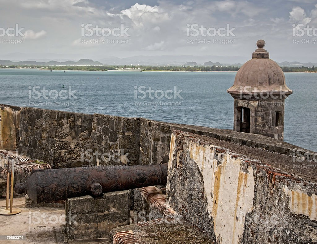 Cannon at the Harbor in San Juan stock photo