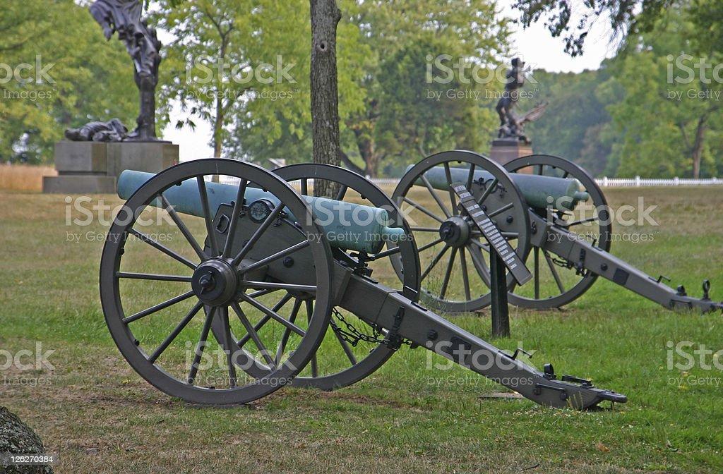 Cannon at the historic battlefield near Gettysburg (USA) stock photo