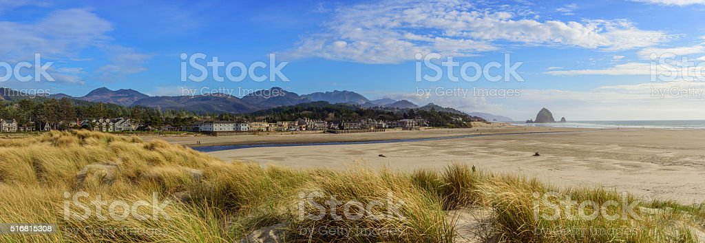 Cannon Beach Panorama stock photo