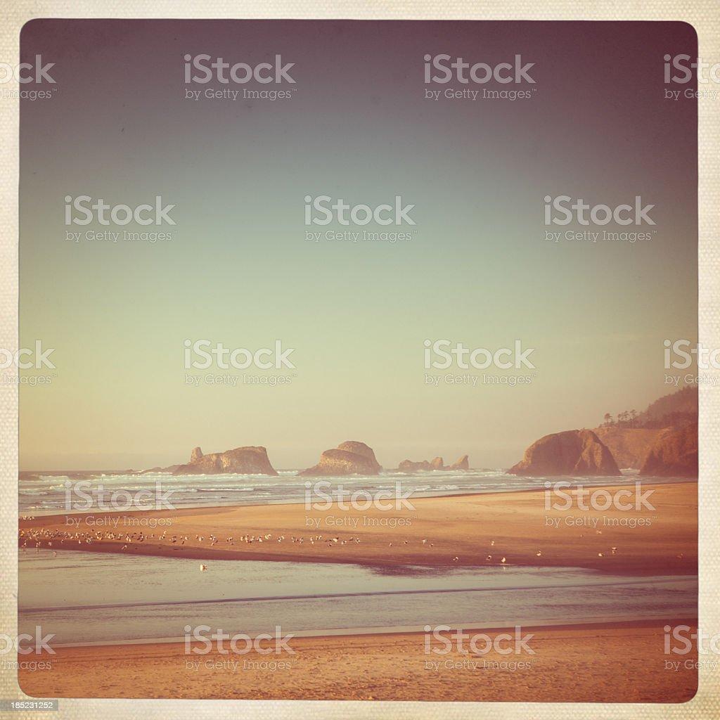 Cannon Beach Retro Polaroid royalty-free stock photo