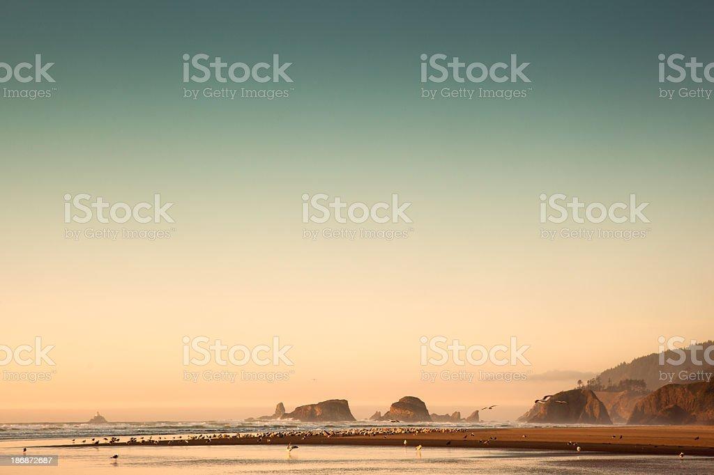Cannon Beach Retro Styled Image royalty-free stock photo