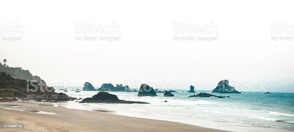 cannon beach rocks in Oregon stock photo