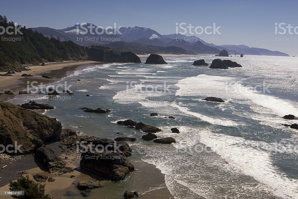 Cannon Beach vista, waves and mountains royalty-free stock photo