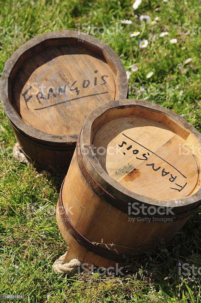 'Cannon buckets, Jersey.' stock photo