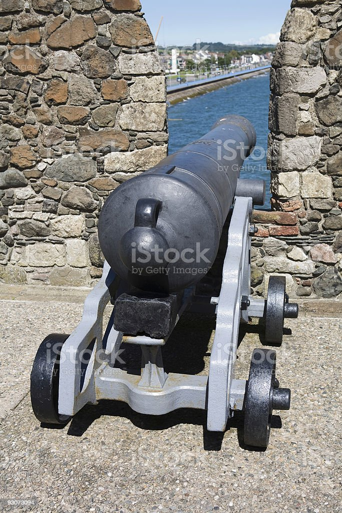 Cannon Carrickfergus Castle stock photo