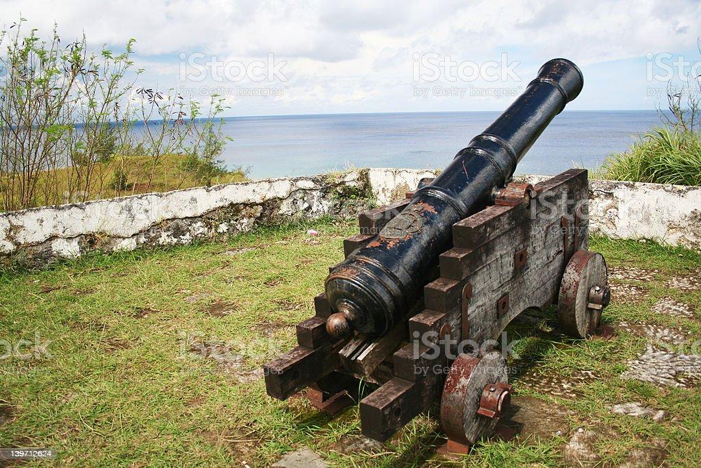 Cannon facing Pacific Ocean stock photo