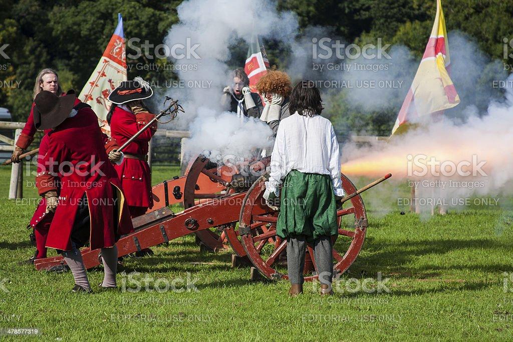 Cannon firing Battle of the Boyne Oldbridge Estate Drogheda Louth stock photo