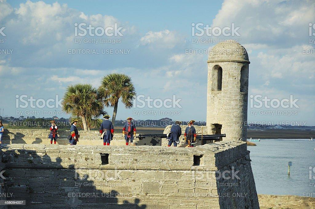 Cannon Firing Demonstration at Castillo de San Marcos St. Augustine stock photo