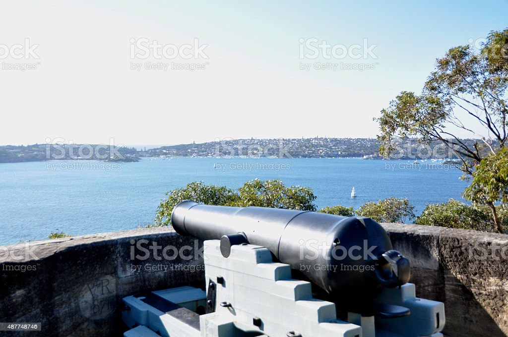 Cannon from 1880 looking over Sydney Harbour stock photo