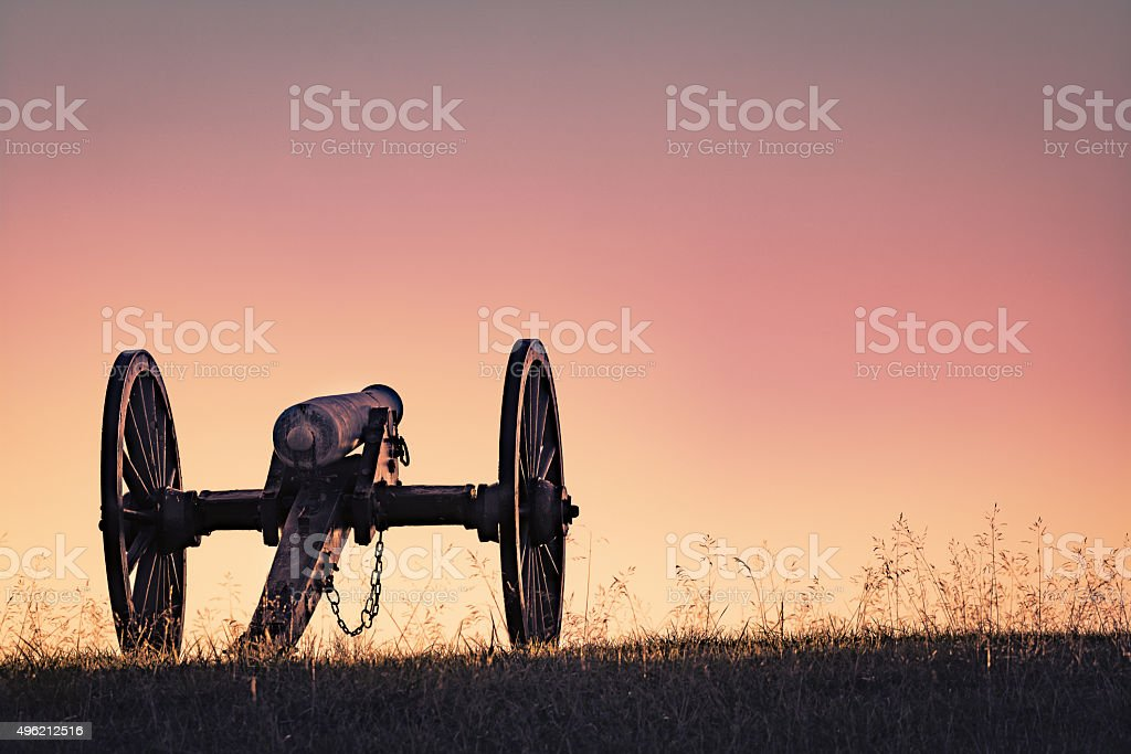 Cannon from Civil War at Sunset stock photo