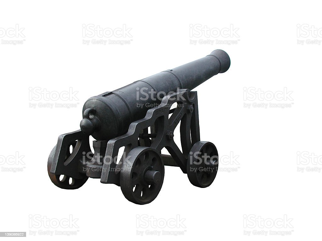 Cannon - from Macau fortress (white bg) stock photo