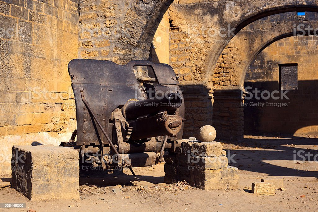 Cannon in old portuguese fort stock photo