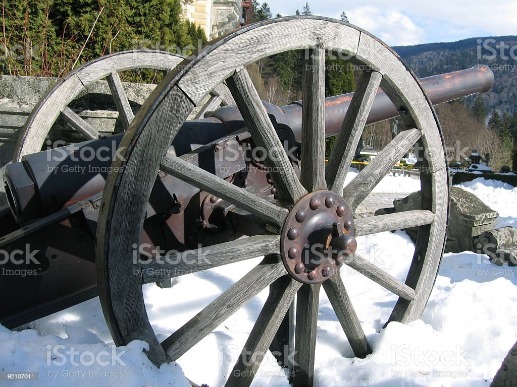 Cannon in snow stock photo
