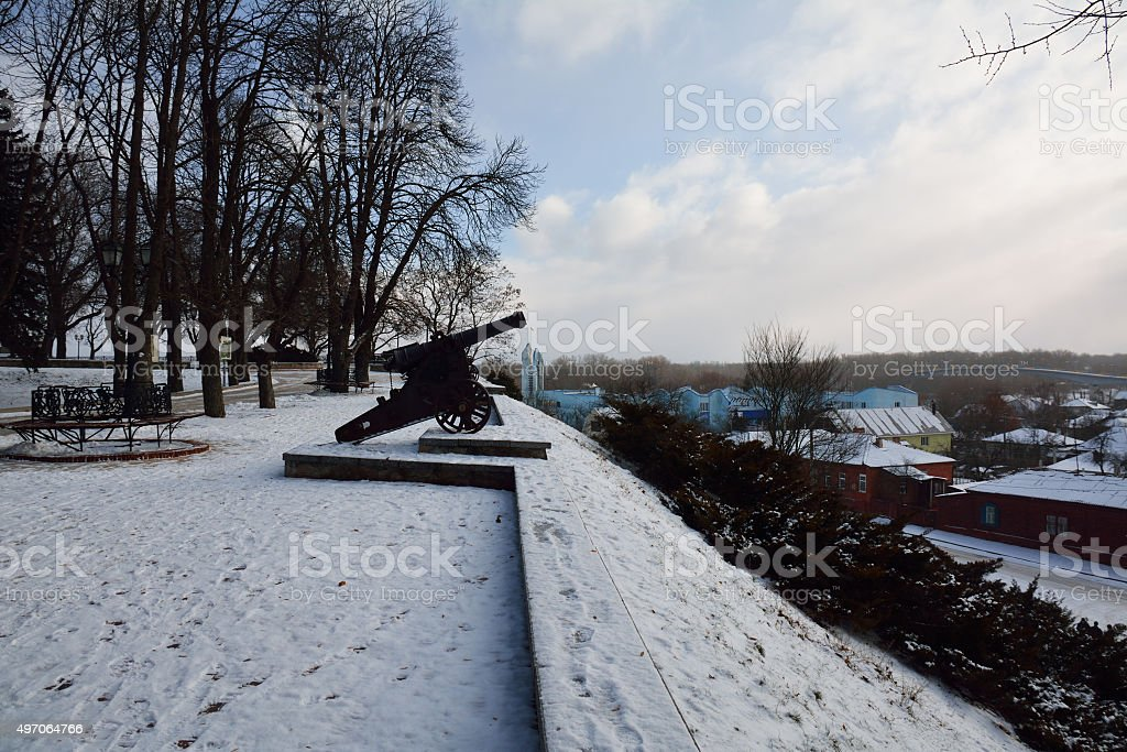 Cannon in Val park, with the view over seaport stock photo