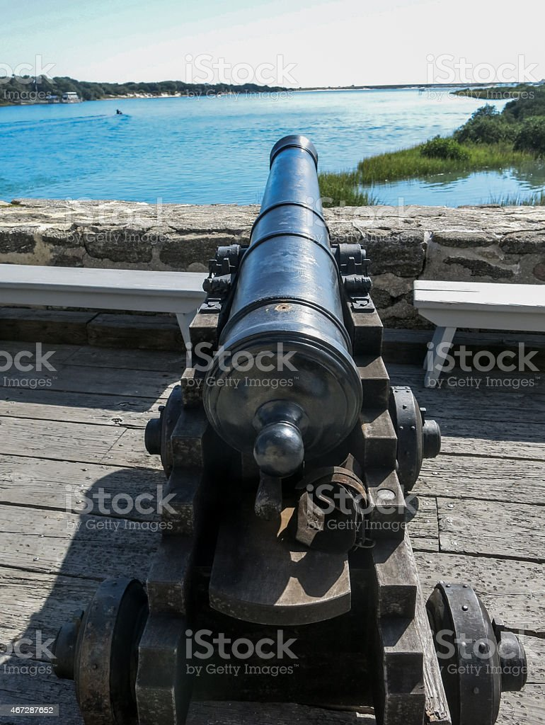 Cannon looking out over the bay stock photo