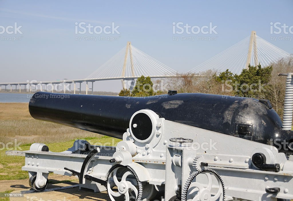Cannon, Patriots Pointe, South Carolina stock photo