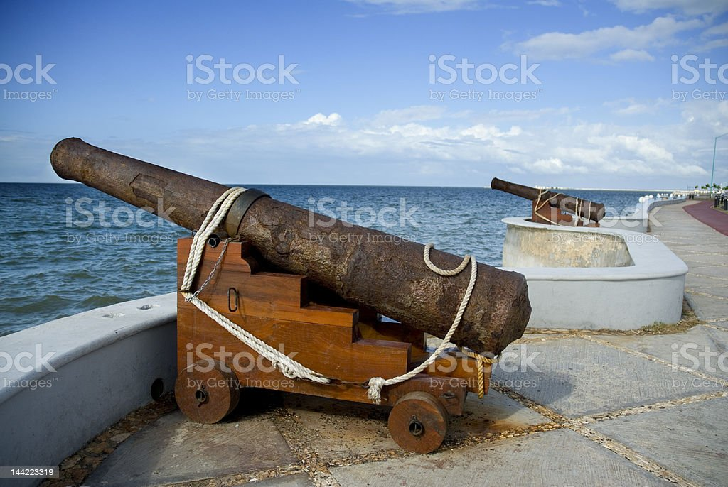 cannon point to the sea in Campeche - Mexico royalty-free stock photo
