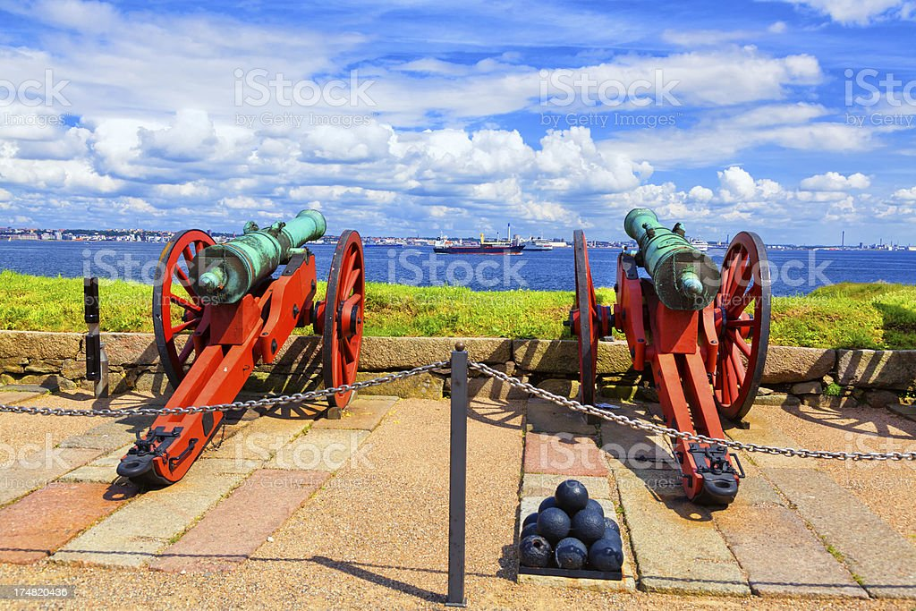 Cannon pointing to the strait between Denmark and Sweden stock photo