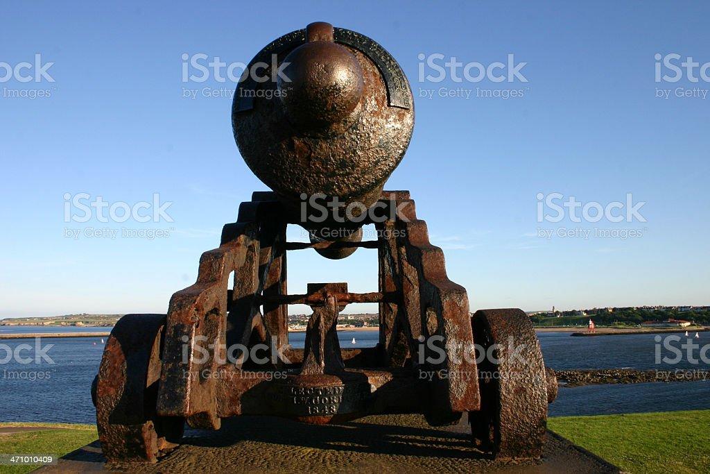 Cannon protecting coast sea stock photo