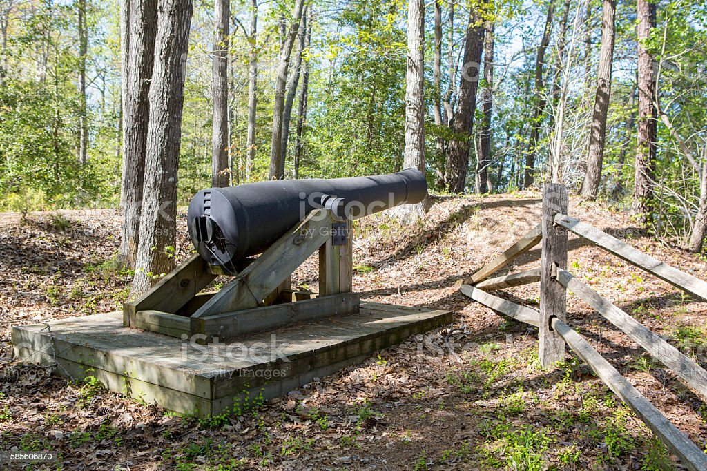 Cannon sitting on a defesive bluff stock photo