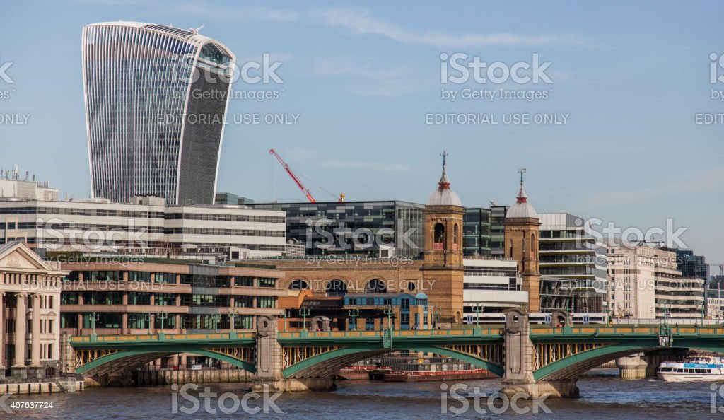 Cannon Street Station, office buildings in the distance stock photo