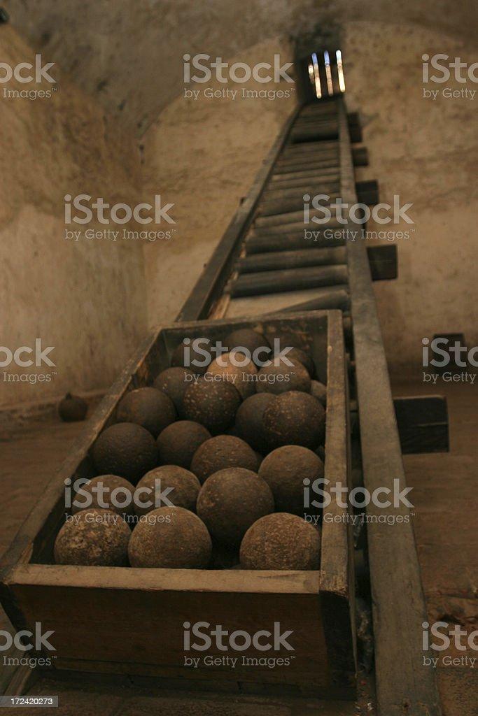 Cannonball chamber lift of el Morro in Santiago de Cuba stock photo
