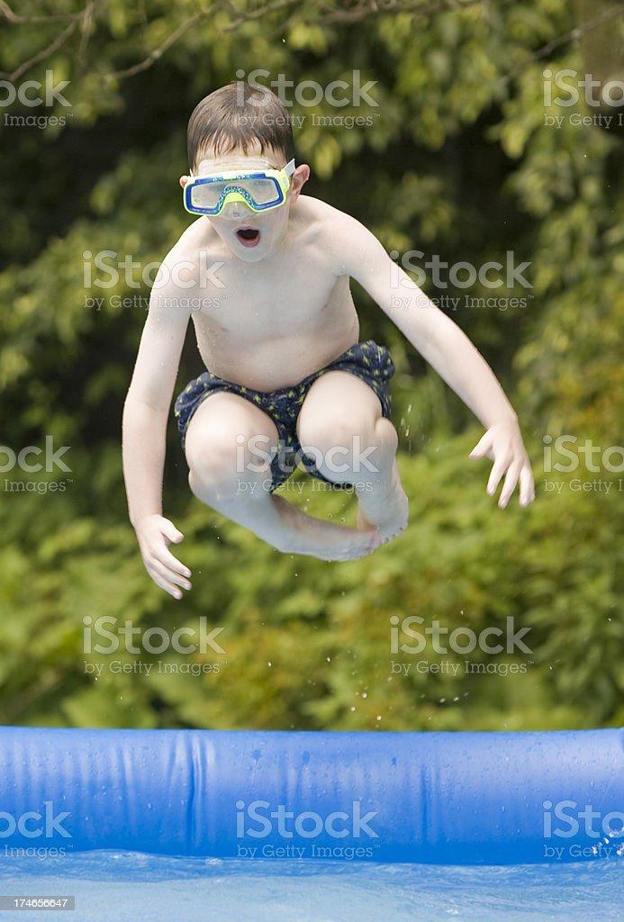Cannonball jump stock photo