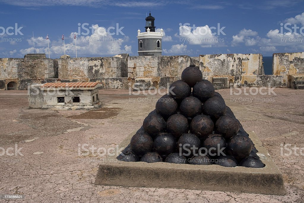 Cannonball pile on El Morro fort (Puerto Rico) stock photo