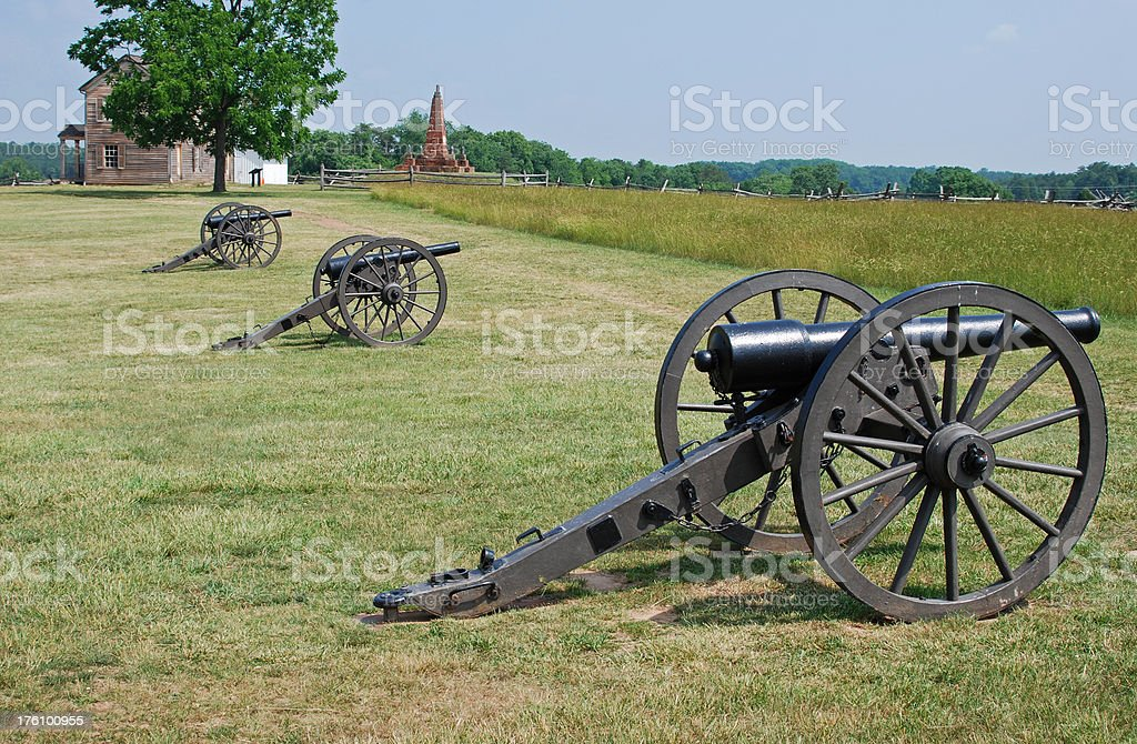 Cannons at American Civil War battlefield of Manassas stock photo