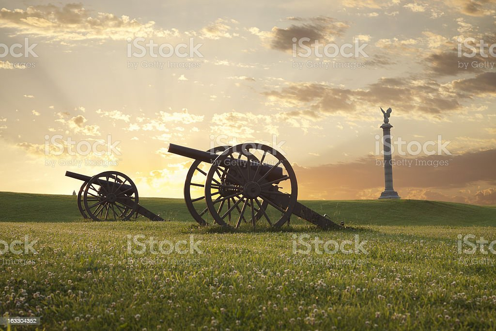 Cannons at Antietam (Sharpsburg) Battlefield in Maryland royalty-free stock photo