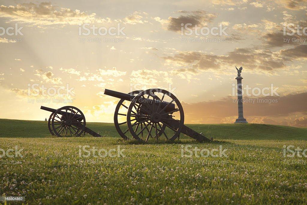 Cannons at Antietam (Sharpsburg) Battlefield in Maryland stock photo