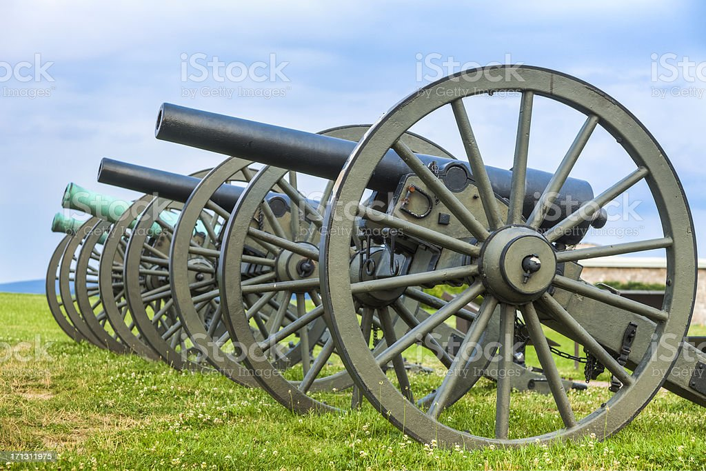 Cannons at Antietam National Battlefield stock photo