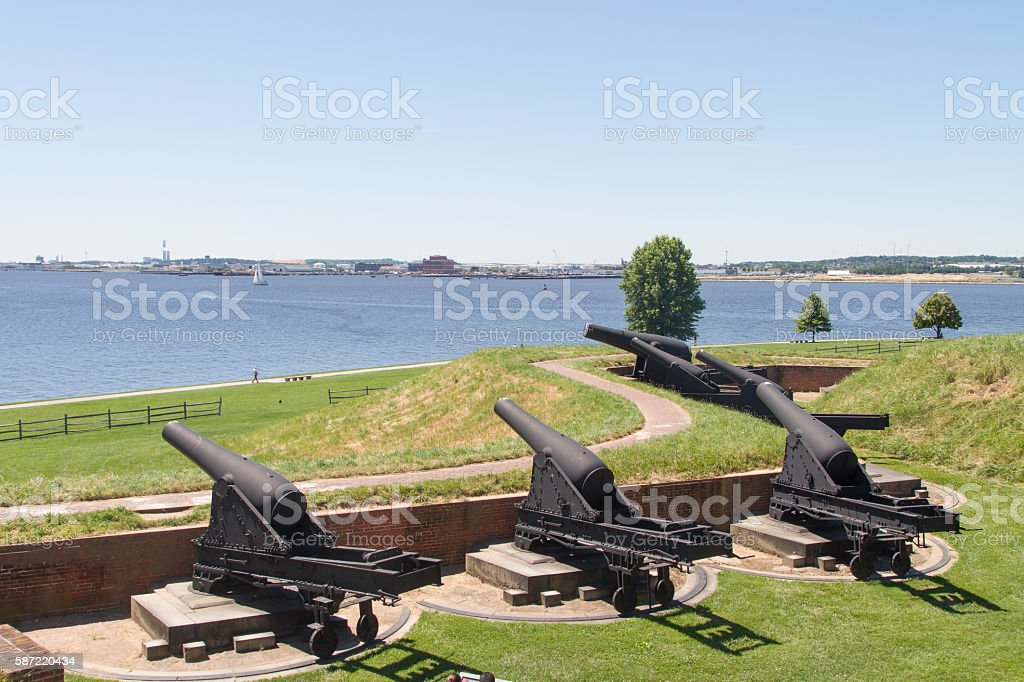 Cannons at Fort McHenry, Baltimore, Maryland stock photo