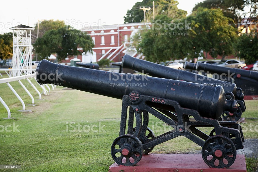 Cannons at Garrison Savannah, Bridgetown, Barbados stock photo