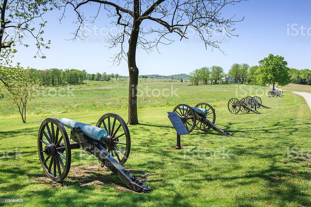 cannons at Gettysburg National Military Park stock photo